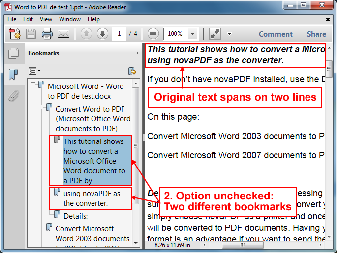 Adding PDF bookmarks with novaPDF