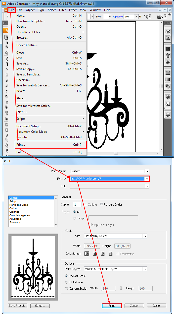 Convert vector graphic files (svg) to PDF