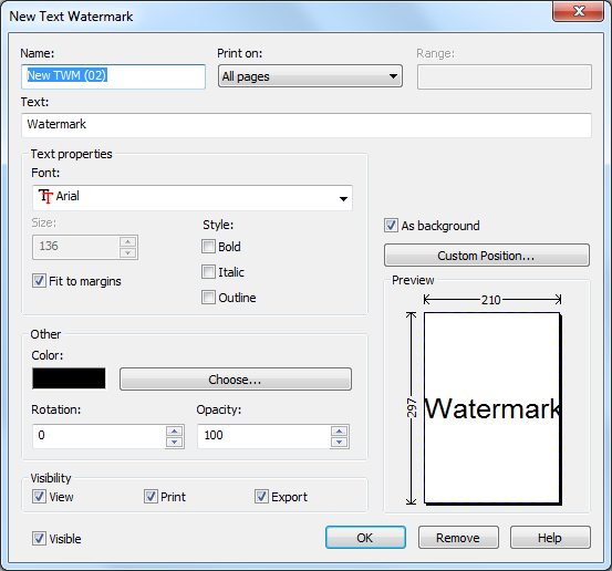 configure new text watermark