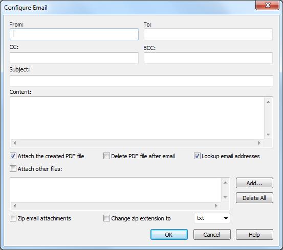 configure novapdf email details