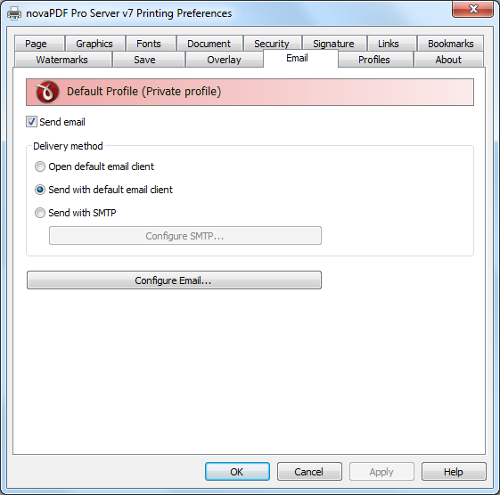 configure novapdf email tab