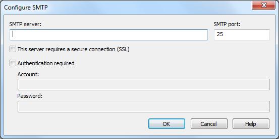 configure smtp server details
