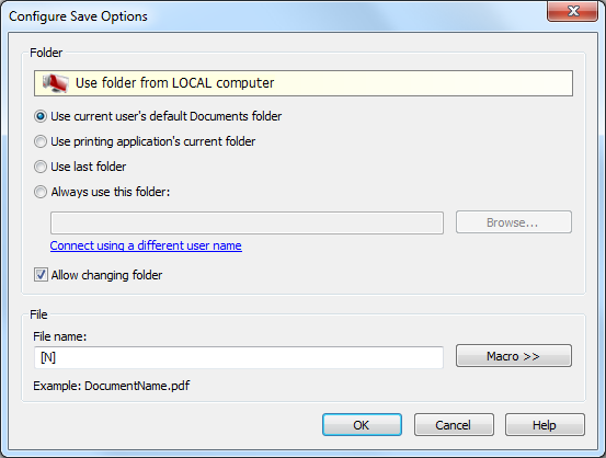 configure save options