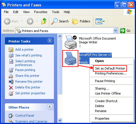 default printer xp flat