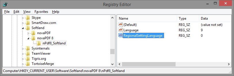 language registry keys