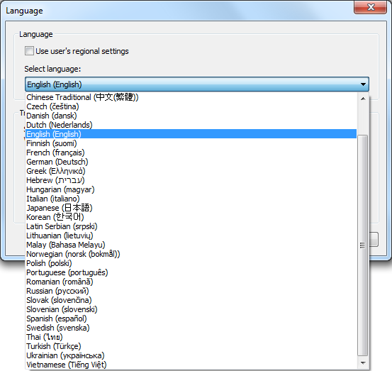 languages window