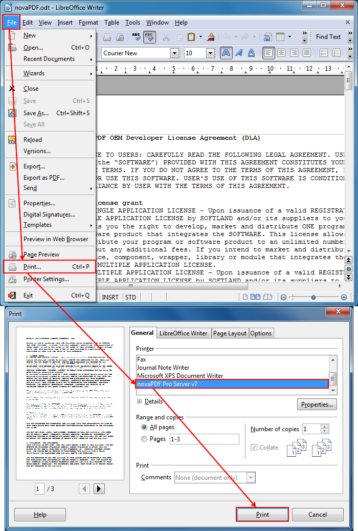 Converting Open Document Text files to PDF with novaPDF