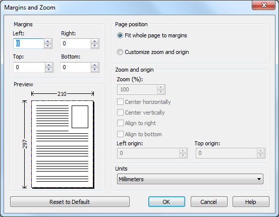 margins and zoom