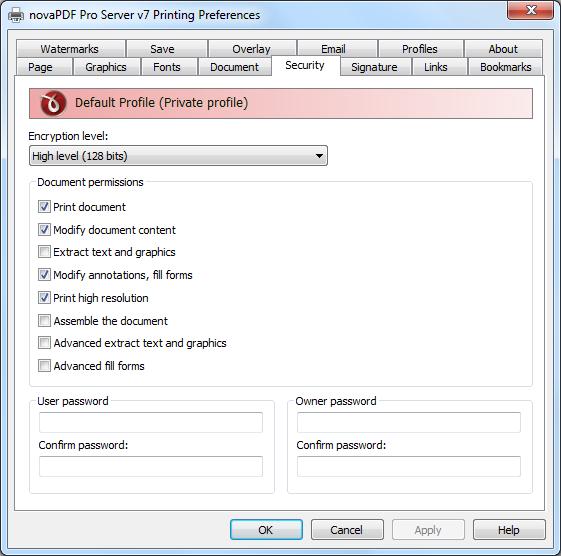 novapdf security tab