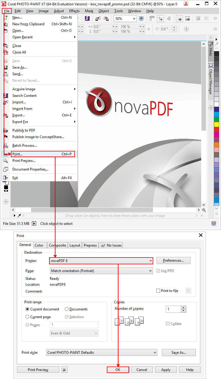 Convert PSD files created with Adobe Photoshop to PDF